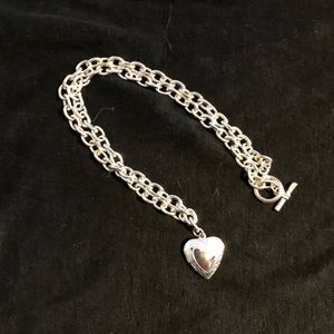 White gold tone heart shaped chain and locket
